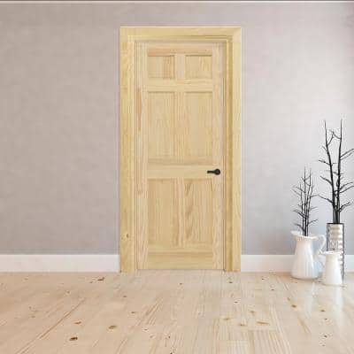 30 in. x 80 in. 6-Panel Left-Hand Unfinished Pine Wood Single Prehung Interior Door with Nickel Hinges