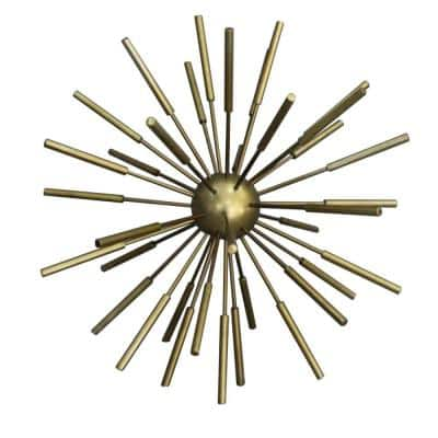 Brass 12 in. Metal Decor Spike Decorative Sputnik with Pipe Ends