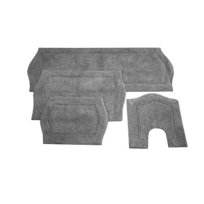 Waterford Collection Grey 17 in. x 24 in. / 21 in. x 34 in. / 20 in. x 20 in. / 22 in. x 60 in. Bath Rug Set