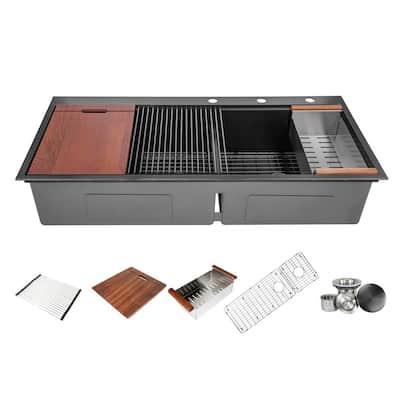 Ariel 16-Gauge Nano Black Stainless Steel 48 in. Double Bowl 60/40 Offset Drop-In Workstation Kitchen Sink w/Accessories