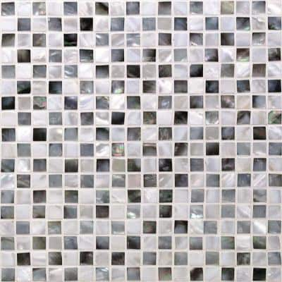 Coule Black and White Checkerboard 12 in. x 12 in. x 2 mm Pearl Shell Mosaic Tile