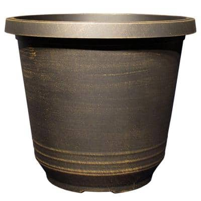 Torino 14 in. Black Bronze Plastic Round Planter