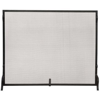 Black Wrought Iron 41 in. W Single-Panel Heavy Guage Sparkguard Fireplace Screen