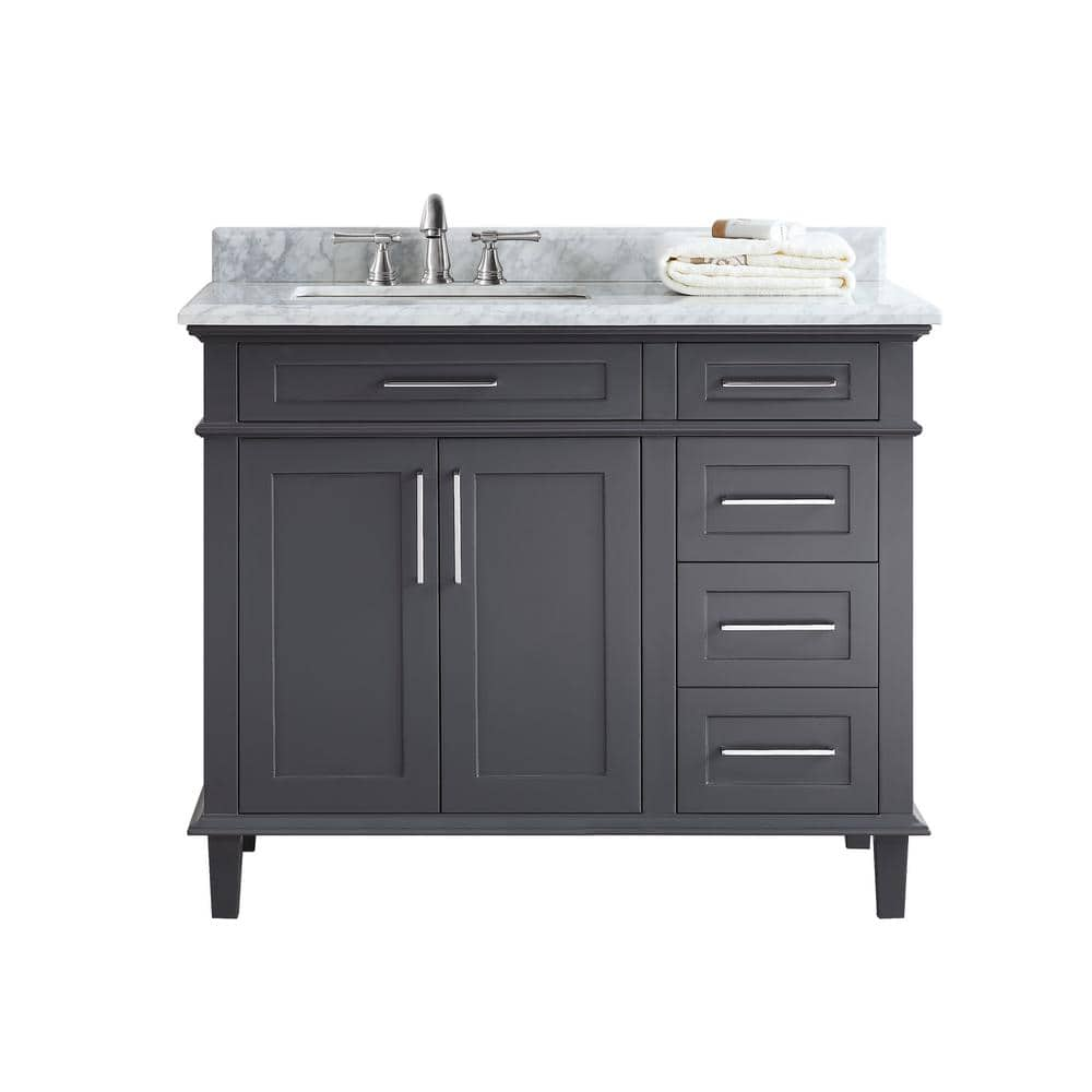 Ari Kitchen And Bath Newport 42 In Single Bath Vanity In Charcoal With Marble Vanity Top In Carrara White With White Basin Akb Newpo 42 Ch The Home Depot