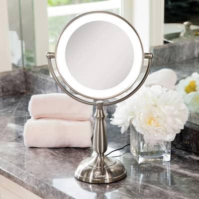 7.5 in. x 17.25 in. Smart Touch Dimming LED Freestanding Bi-View 12X/1X Vanity Beauty Makeup Mirror in Satin Nickel