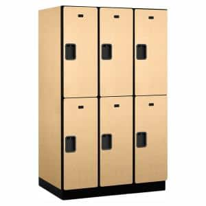 22000 Series Double Tier 24 in. D 6 Compartments Extra Wide Designer Wood Locker in Maple