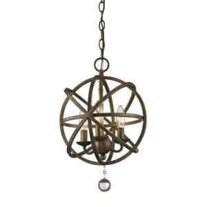 Royal 3-Light Golden Bronze Rustic Globe Pendant with Hanging Crystal