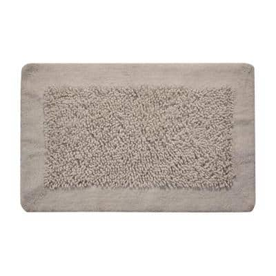 2-Piece Bath Rug Set Cotton and Chenille 24 in. x 17 in. and 34 in. x 21 in. Non-Skid Backing White Long Noodle Pattern