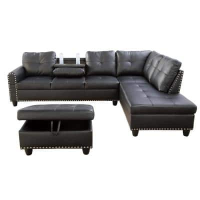 3-Piece-Black-Faux Leather-6 Seats-L-Shaped-Right Facing-Sectionals
