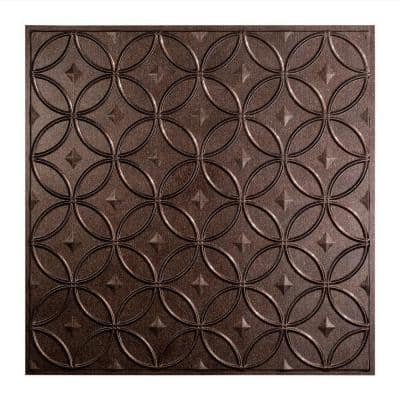 Rings 2 ft. x 2 ft. Smoked Pewter Lay-In Vinyl Ceiling Tile (20 sq. ft.)