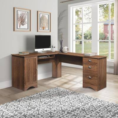 Modern Walnut Brown L-Shaped Executive Desk with Three Drawers and Hidden Storage Space Shelves