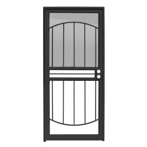 36 in. x 80 in. Arbor Black Recessed Mount All Season Security Door with Insect Screen and Glass inserts