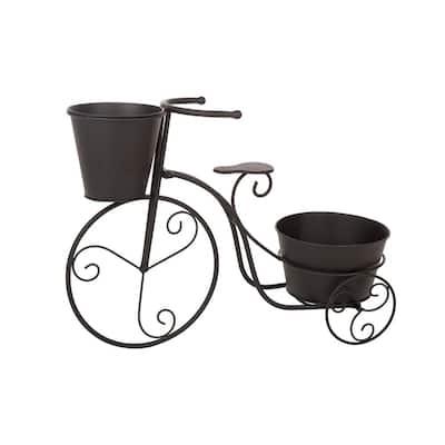 20.75 in. H Metal Black Bicycle Planter (KD)