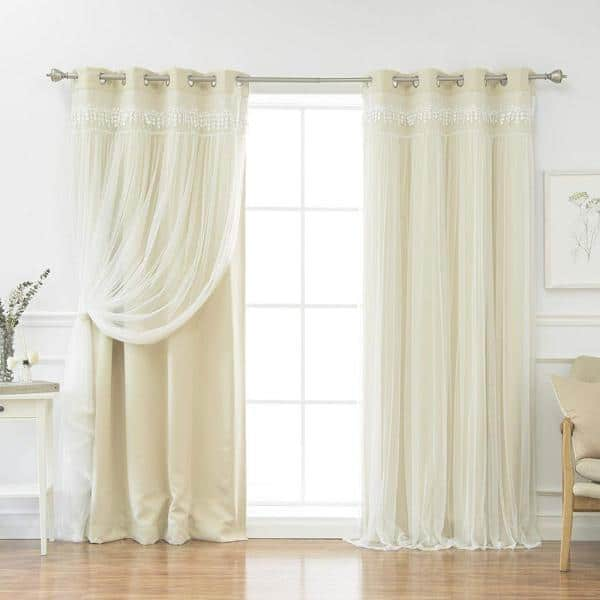 Best Home Fashion Beige 96 In L Elis Lace Overlay Blackout Curtain Panel 2 Pack Grom Bo Elis 96 Beige The Home Depot