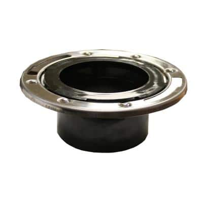 7 in. O.D. Plumbfit ABS Closet (Toilet) Flange with Stainless Steel Ring, Fits Over 3 in. or Inside 4 in. Sch. 40 Pipe