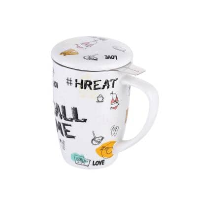 15.2oz. Large Tea Mug Graffiti with Lid and Stainless Steel Infuser-Tea-for-One Perfect Set for Office and Home Use