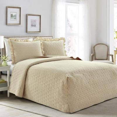 French Country Geo Ruffle Skirt 3-Piece Neutral Queen Bedspread Set