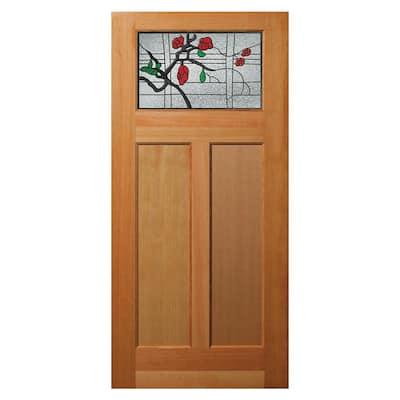 36 in. x 80 in. 2 Panel Universal/Reversible Craftsman 1-Lite Decorative Glass Unfinished Fir Wood Front Door Slab