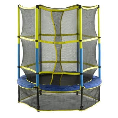 55 in. Kid-Friendly Trampoline and Enclosure Set Equipped with Easy Assemble Feature