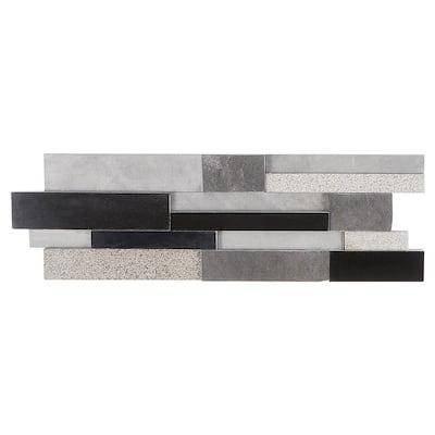 Cliffstone Black Gray Ledger Panel 7.87 in. x 23.62 in. 10mm Brushed Granite Mosaic Tile (1.29 sq. ft.)