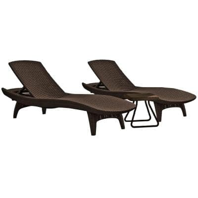 Pacific Whiskey Brown All-Weather Adjustable Resin Patio Chaise Lounger with Side Table (3-Piece Set)