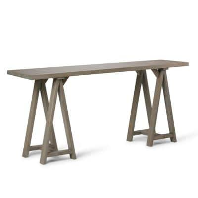 Sawhorse 66 in. Distressed Gray Standard Rectangle Wood Console Table