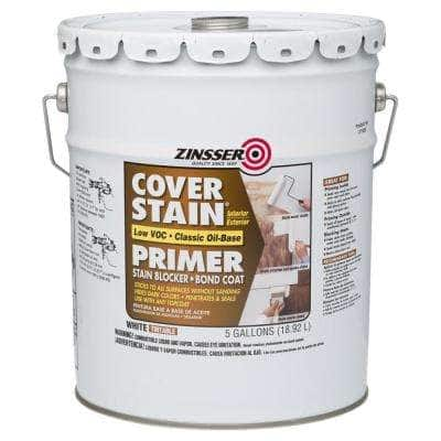 Cover Stain 5 gal. White Low VOC Classic Oil-Based Interior/Exterior Primer and Sealer