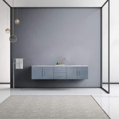 Geneva 80 in. W Double Bath Vanity in Dark Grey with Marble Vanity Top in White Carrara with White Square Basins