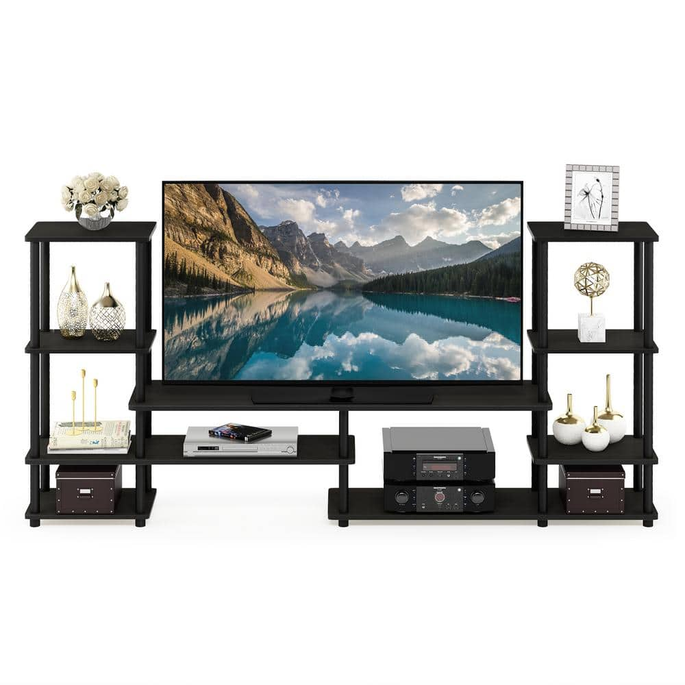 Furinno Turn N Tube 78 In Espresso Particle Board Entertainment Center Fits Tvs Up To 50 In With Open Storage 14146ex Bk The Home Depot