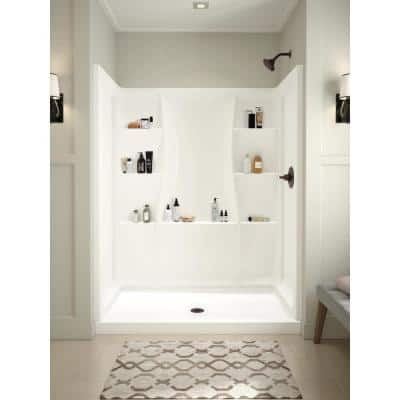 Classic 400 32 in. L x 60 in. W x 74 in. H 4-Piece Alcove Shower Kit with Shower Wall and Shower Pan in White