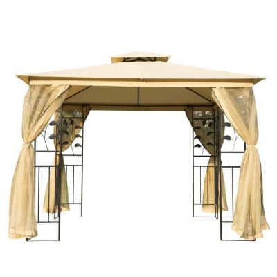 10 ft. x 10 ft. Beige Steel Fabric Rectangle Outdoor Gazebo with Mesh Curtain Sidewalls and 2-Tiered Vented Canopy Top