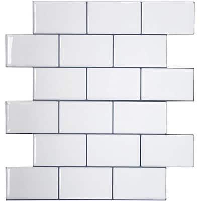 "3D Subway Design Peel and Stick Peelable Glossy Backsplash Tile, Thicker Version, 12""x12""/pc (Set of 20pc)"
