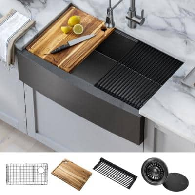 Gunmetal 32.88 in. Stainless Steel 16-Gauge PVD Single Bowl Farmhouse Apron Workstation Kitchen Sink with Accessories