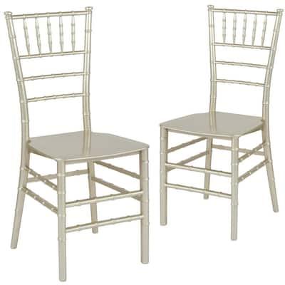Champagne Flat Seat Resin Chiavari Chairs (Set of 2)