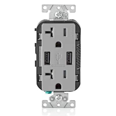 Decora 20 Amp Tamper Resistant Duplex Outlet and 3.6 Amp USB Outlet, Gray