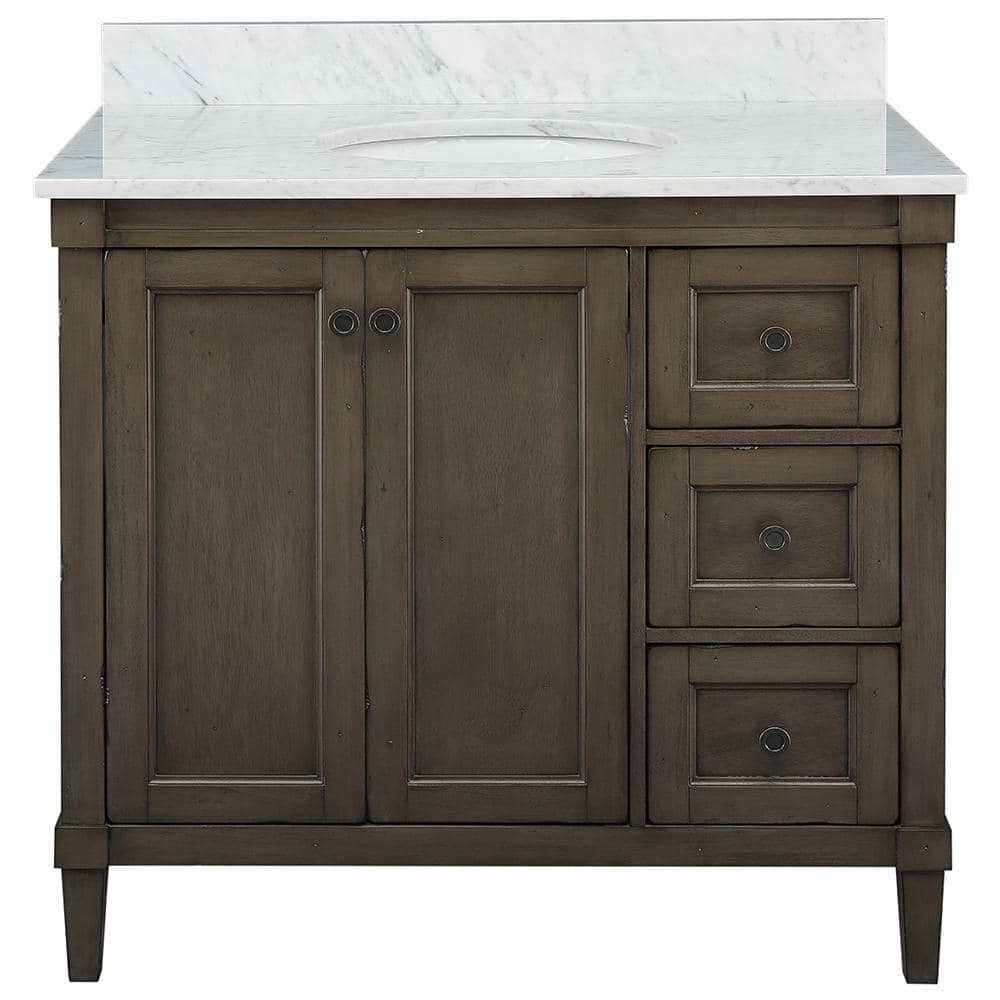 Home Decorators Collection Rosecliff 37 In W X 22 In D Vanity In Distressed Grey With Carrara Marble Vanity Top In White With White Sink Rcgrvt3722d The Home Depot