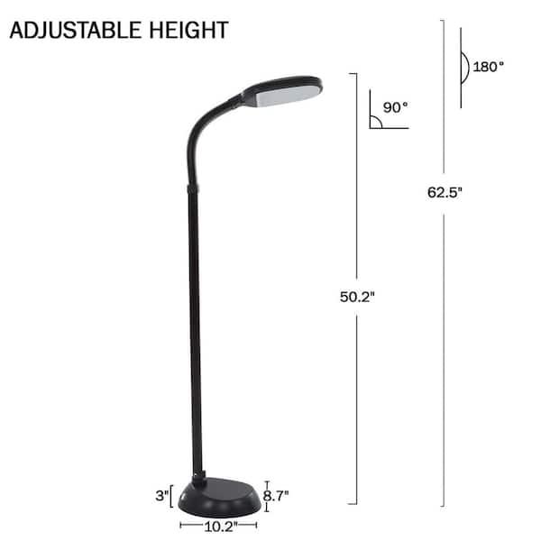 60 In Black Indoor Sunlight Floor Lamp, Floor Lamp With Dimmer Switch And Adjustable Arm