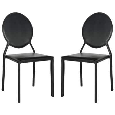 Warner Black 37 in. H Round Back Leather Side Chair (Set of 2)