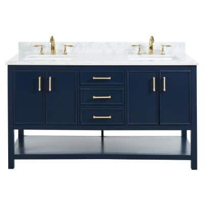 Uptown 60 in.W x 22 in.D x34.75 in.H Bath Vanity in Navy Blue with Carrara Marble Vanity Top in White with White Basin