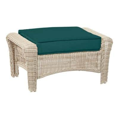 Park Meadows Off-White Wicker Outdoor Patio Ottoman with CushionGuard Malachite Green Cushion