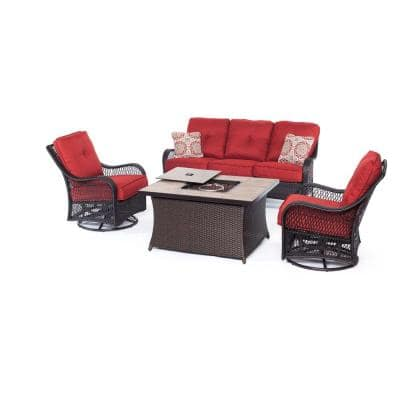 Orleans 4-Piece All-Weather Wicker Patio Fire Pit Seating Set with Autumn Berry Cushions