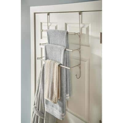 Over-the-Door 3-Bar Towel Rack in Nickel