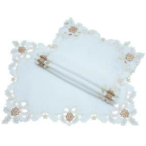 0.1 in. x 14 in. x 20 in. Gilded Pines Embroidered Cutwork Christmas Placemats (4-Set)