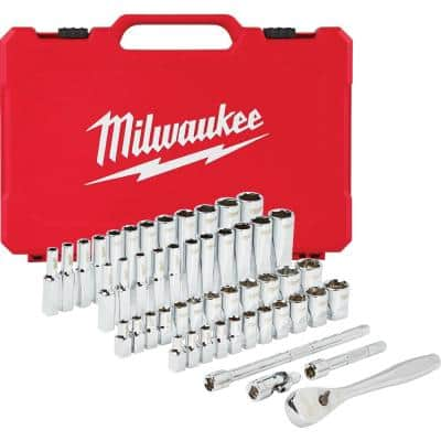 1/4 in. Drive SAE/Metric Ratchet and Socket Mechanics Tool Set (50-Piece)