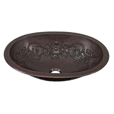 Pauling 19 in. Undermount or Drop-In Solid Copper Bathroom Sink with Scroll Design in Aged Copper