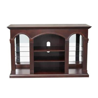50 in. Rustic MDF Brown Composite TV Consloe 55 in. with Shelves
