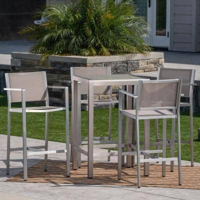 Cape Coral Silver 5-Piece Aluminum Outdoor Bar Height Bistro Set