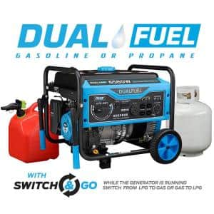 6,580/5,500-Watt Recoil Start Gas and Propane Powered Dual Fuel Portable Generator, CARB Compliant