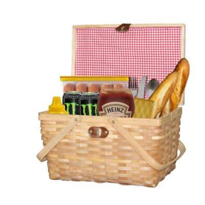 Gingham Natural Lined Woodchip Picnic Basket with Lid and Movable Handles
