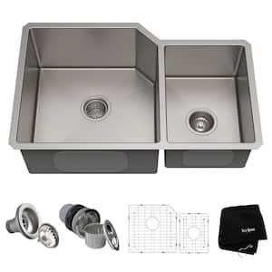Standart PRO 32in. 16 Gauge Undermount 60/40 Double Bowl Stainless Steel Kitchen Sink